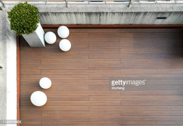 aerial view of roof terrace - decking stock pictures, royalty-free photos & images