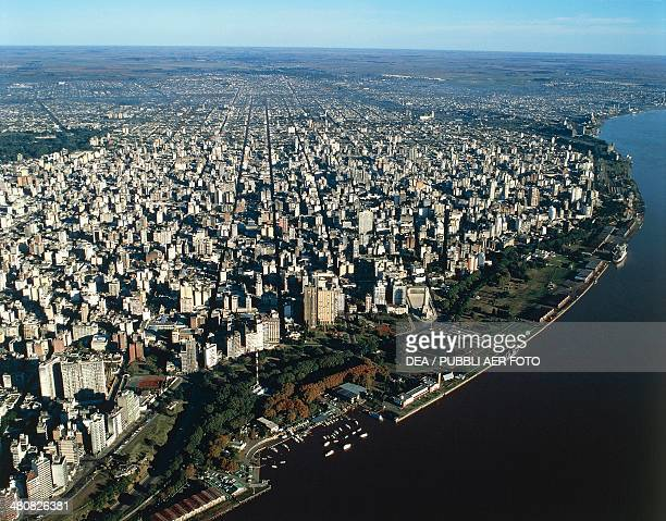 Aerial view of Rosario with the Parana River Santa Fe Province Argentina