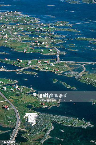 Aerial view of Rost island Lofoten County Nordland Norway
