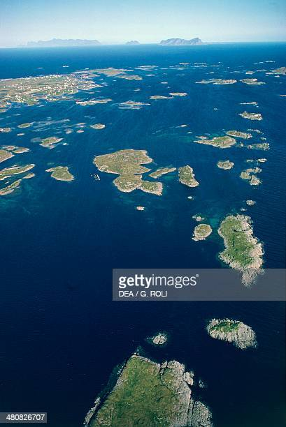 Aerial view of Rost Lofoten Islands County Nordland Norway