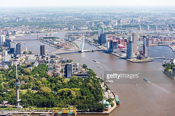 aerial view of rotterdam - rotterdam stock pictures, royalty-free photos & images