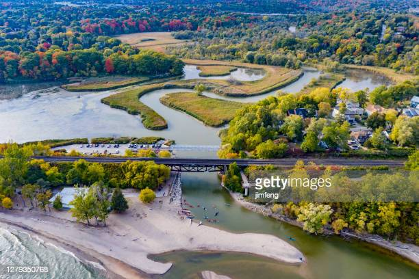 aerial view of rouge national urban park and rouge river, toronto, canada - great lakes stock pictures, royalty-free photos & images