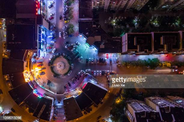 aerial view of roundabout - liyao xie stock pictures, royalty-free photos & images