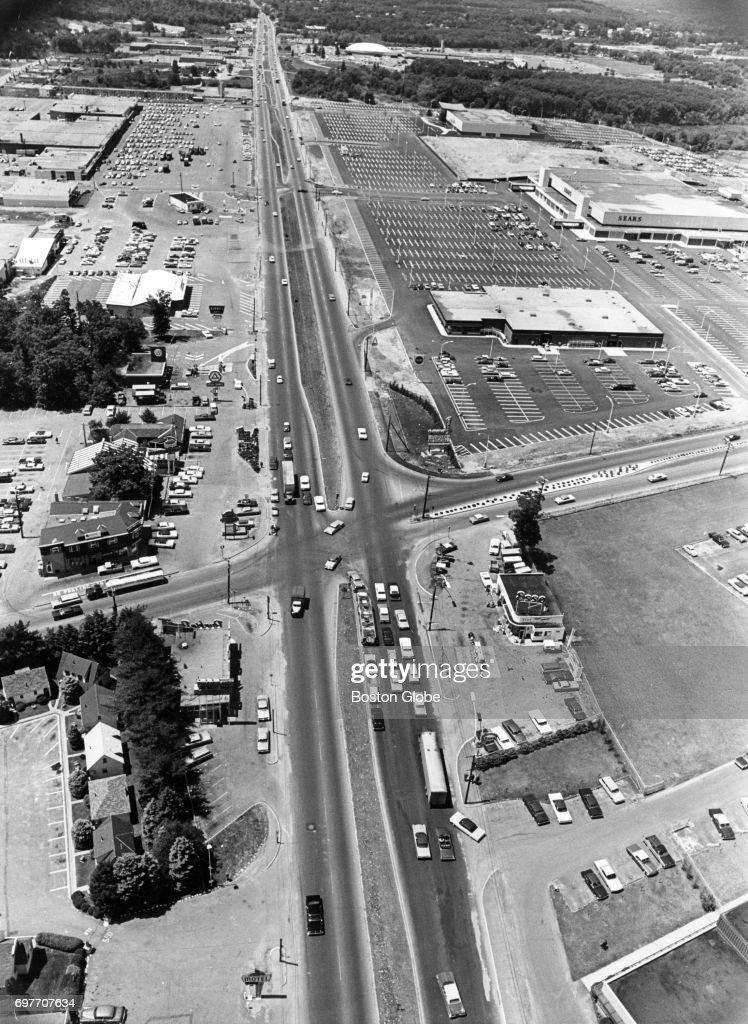 Aerial view of Route 9 at Spleen Street in Framingham, Mass