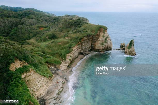 aerial view of rugged coastline in chiba, japan - 千葉市 ストックフォトと画像