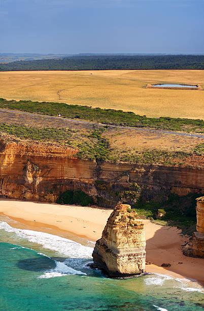Aerial view of rugged coastline