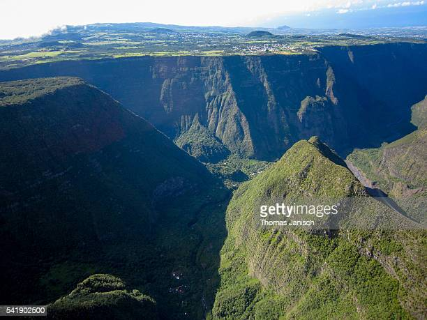 Aerial view of rugged landscape at Grand Bassin and Bois Court, Reunion island