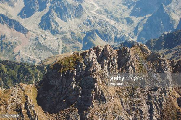aerial view of rugged mountain ridge, france - frej stock pictures, royalty-free photos & images