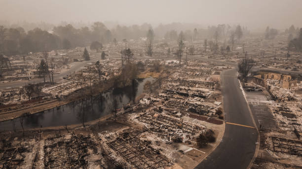 Aerial View Of Ruined Mobile Home Park After The Almeda Wildfire In Southern Oregon Talent Phoenix