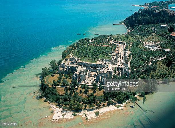 Aerial view of ruins of caves Catullo Caves Sirmione Lombardy Italy