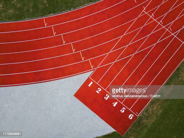 aerial view of running track - track and field stock pictures, royalty-free photos & images
