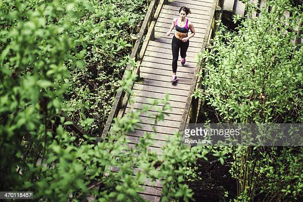 Aerial View of Running Woman