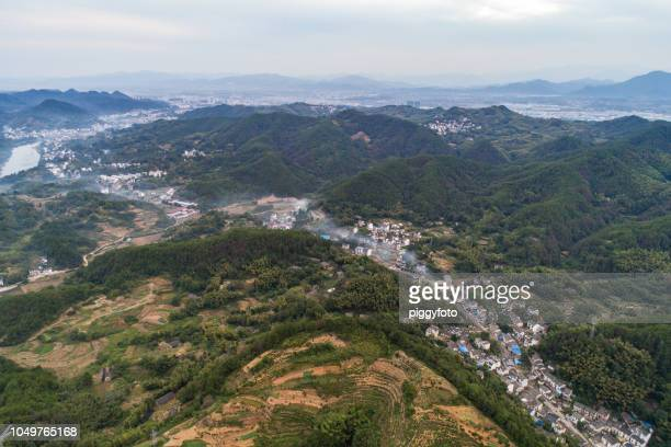 aerial view of rural area in China