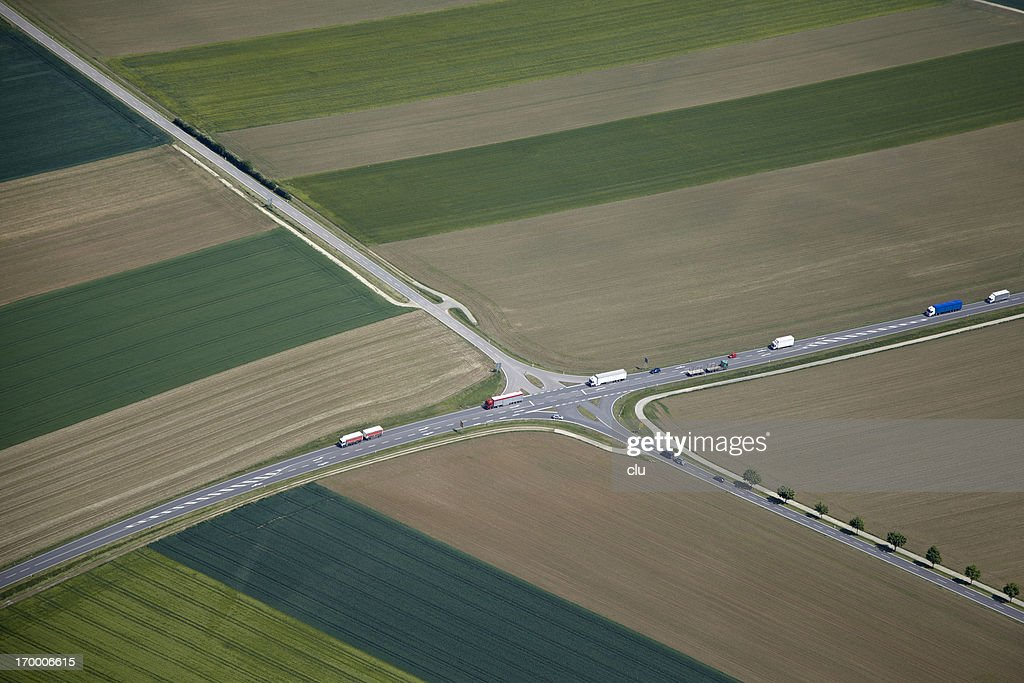 Aerial view of rural cross roads : Stock Photo