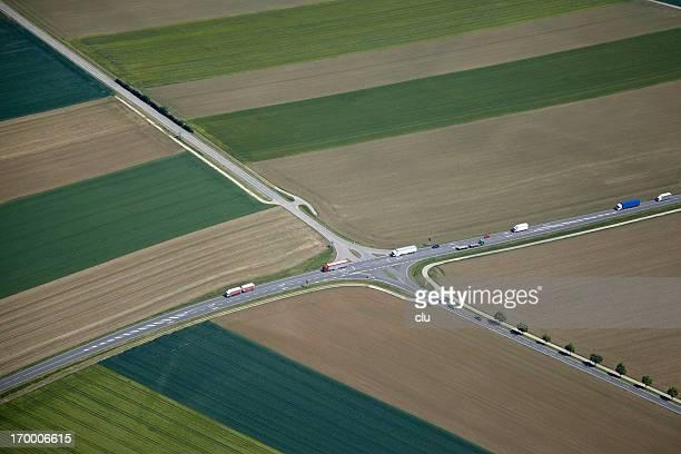 Luftaufnahme des ländlichen cross roads