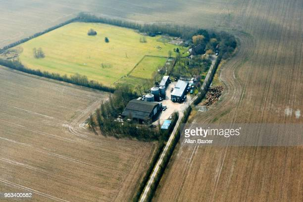 Aerial view of rural farm in Cambridgeshire