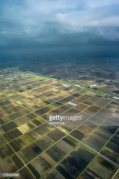 Aerial view of rural farmland in Japan
