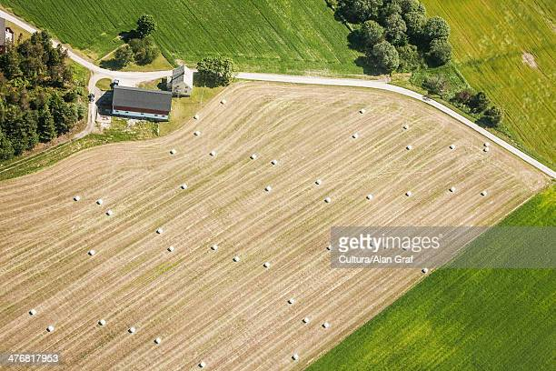 Aerial view of rural farmland