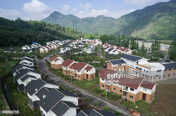 Aerial view of rural landscape of farmer houses in Lushan county Sichuan province south China on on 3th April 2015 A large earthquake that's hit...