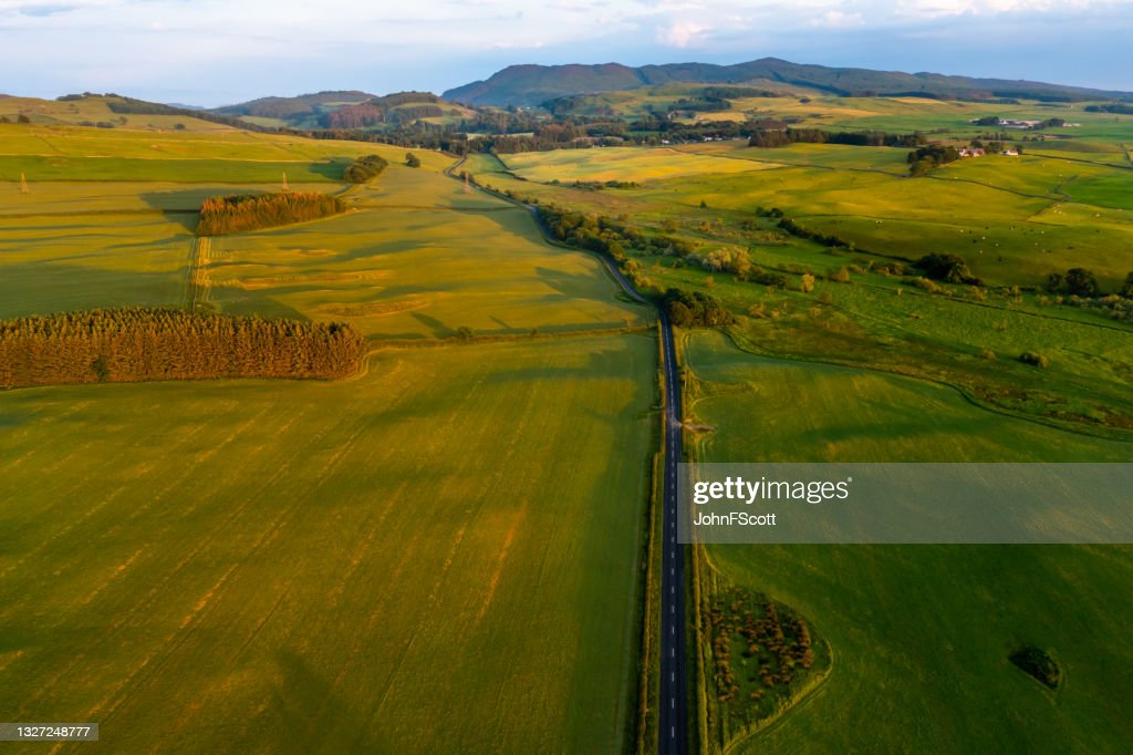 Aerial view of rural Scotland at sunset : Stock Photo
