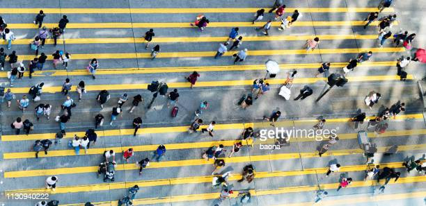 aerial view of rush hour in city crosswalk - crossing sign stock pictures, royalty-free photos & images