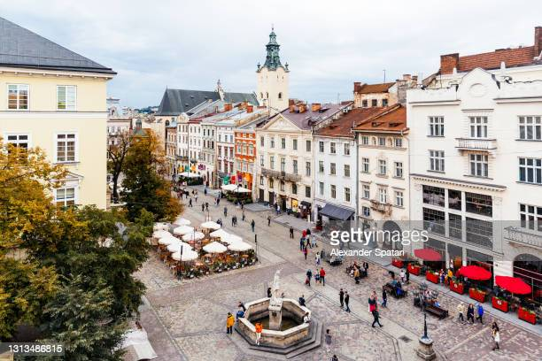 aerial view of rynok square in lviv, ukraine - リヴィウ ストックフォトと画像