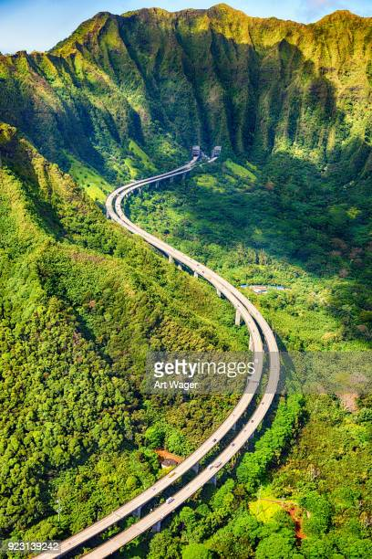 Aerial View of S Curve Freeway on Oahu
