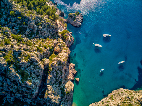 Aerial view of Sa Calobra beach in Mallorca 1064249374