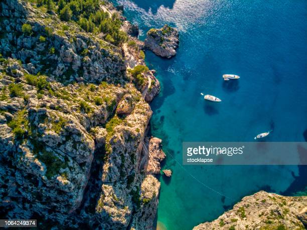 aerial view of sa calobra beach in mallorca - majorca stock pictures, royalty-free photos & images