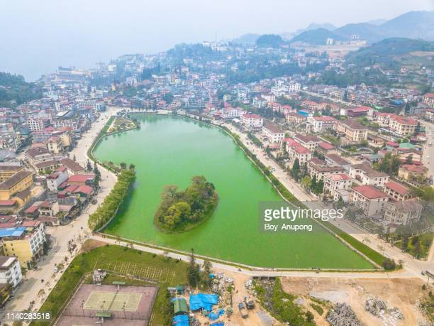 aerial view of sa pa cityscape, vietnam. - sa pa stock photos and pictures