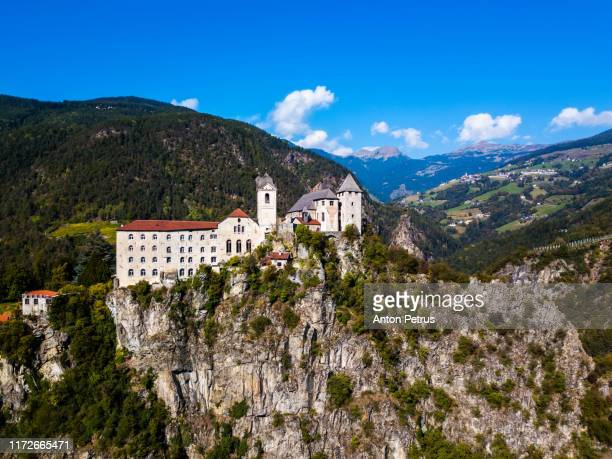 aerial view of sabiona monastery, bolzano, trentino alto adige, italy. - クラウゼン ストックフォトと画像