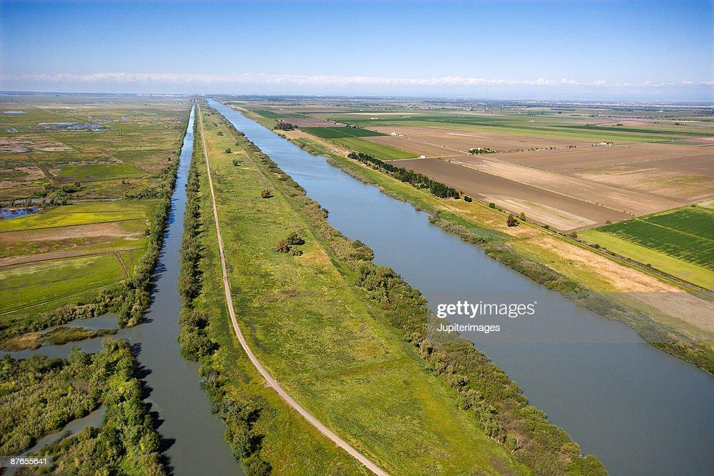 Aerial view of Sacramento River, California : Stock Photo