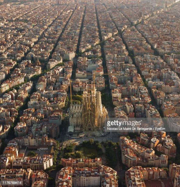 aerial view of sagrada familia in city - barcelona stock pictures, royalty-free photos & images
