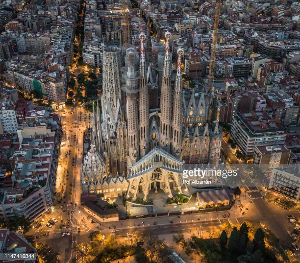 aerial view of sagrda familia - barcelona spain stock pictures, royalty-free photos & images