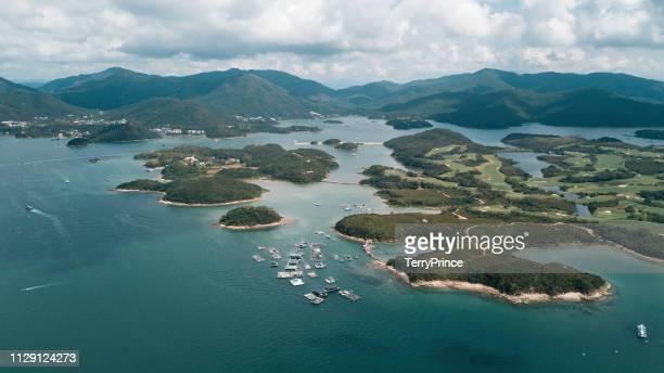 aerial view of sai kung - paisajes de hongkong fotografías e imágenes de stock