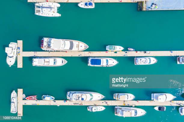 Aerial view of sailboats and yachts in harbor