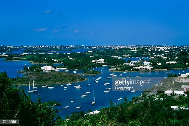 Aerial view of sailboats in a river, Bermuda