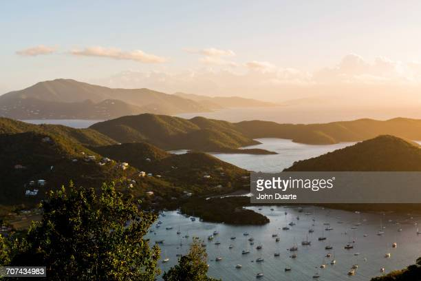 Aerial view of sailboats in Sanders Bay, Charlotte Amalie, Saint John, United States Virgin Islands
