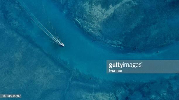 aerial view of sailing yachts. victoria, australia - bateau de plaisance photos et images de collection