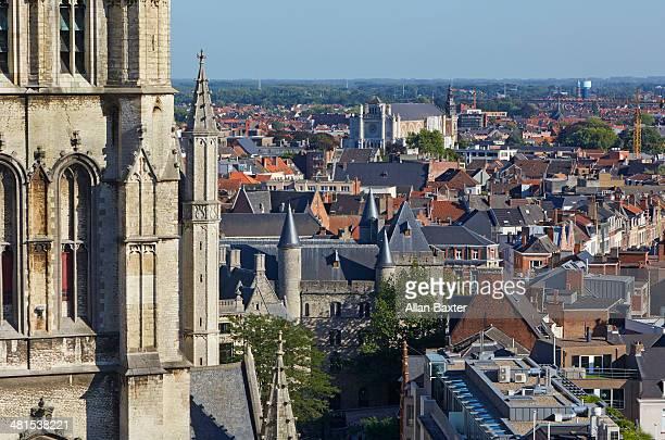 aerial view of saint bavo cathedral - 東フランダース ストックフォトと画像