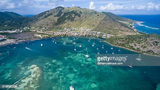aerial view of saint martin beach - guadeloupe photos et images de collection