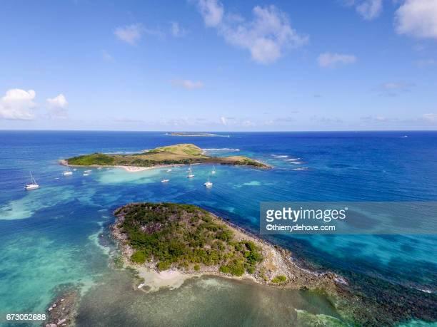aerial view of saint martin beaches - guadeloupe photos et images de collection