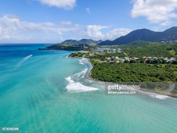 aerial view of saint martin beaches - sint maarten stockfoto's en -beelden