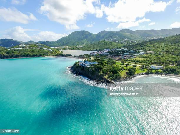 Aerial view of Saint Martin Beaches