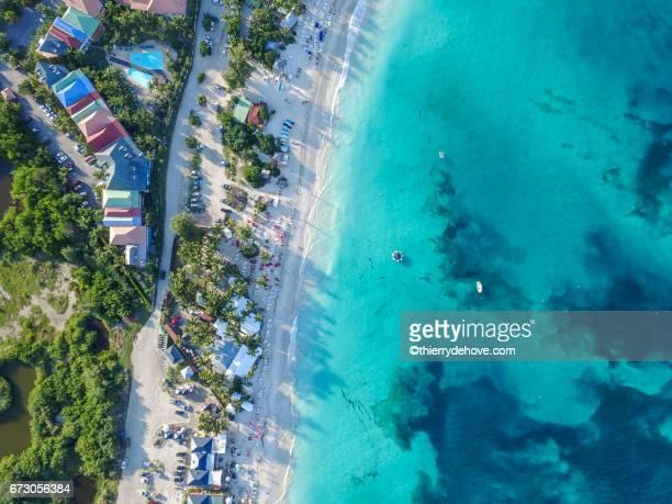 Aerial view of Saint Martin Beaches