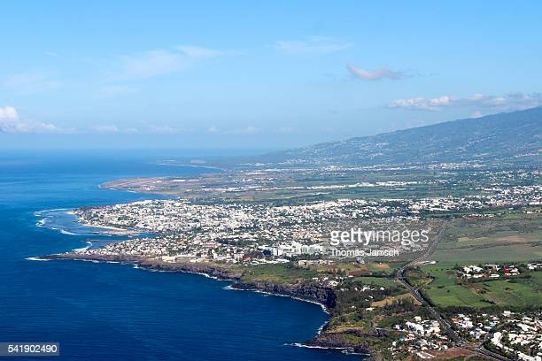 Aerial view of Saint Pierre and coastline of Reunion island