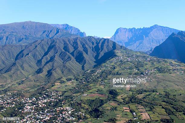 Aerial view of Saint Pierre and Piton des Neiges, Reunion island