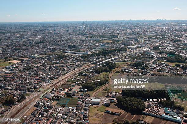 Aerial view of Saitama City, Saitama Prefecture, Honshu, Japan