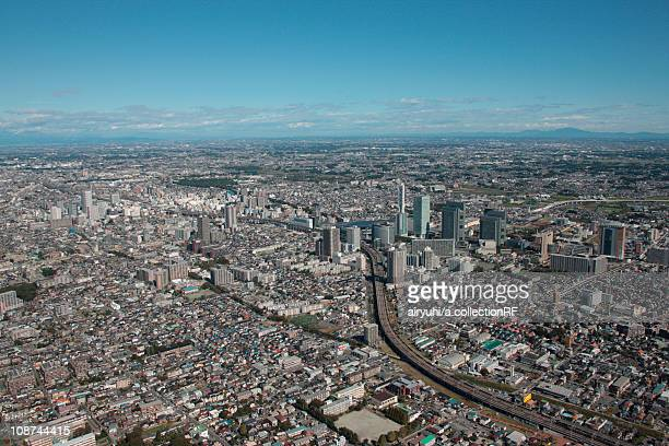 aerial view of saitama city, saitama prefecture, honshu, japan - saitama prefecture stock pictures, royalty-free photos & images