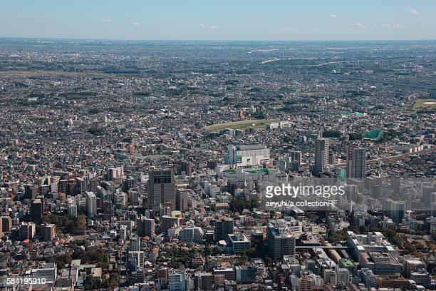 aerial view of saitama city, saitama prefecture, honshu, japan - 埼玉県 ストックフォトと画像